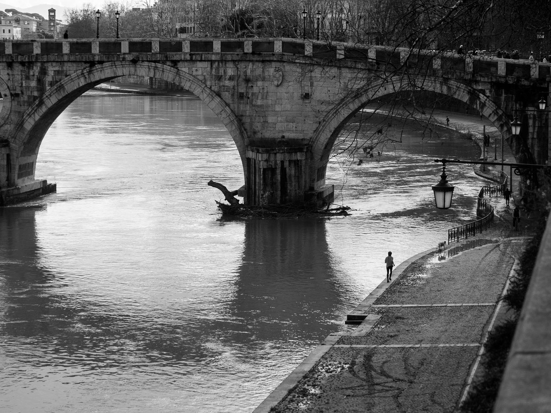 Black and white, View, Fine-art, Roma, Rome, Tevere, Tiber, Photo